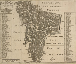 Creplegate [sic] ward with its division into parishes, taken from the last survey, with additions, and corrections (1755)